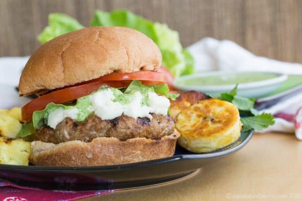 Peruvian Turkey Burgers with Aji Sauce - moist and flavorful patties with South American flair and just a bit of spice. #switchtoturkey with @jennieorecipes #ad | cupcakesandkalechips.com