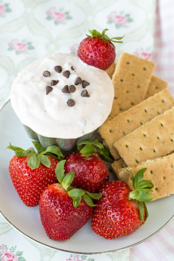 Strawberry Chocolate Chip Greek Yogurt Cheesecake Dip - you only need six ingredients for this healthy dip recipe that's a light sweet treat for an after school snack or dessert.   cupcakesandkalechips.com   gluten free