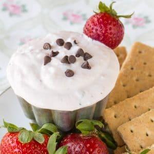 Strawberry Chocolate Chip Greek Yogurt Cheesecake Dip