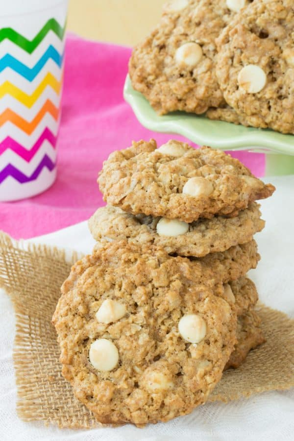 Toffee Almond White Chocolate Chip Monster Cookies - a twist on the classic Monster Cookie recipe that's buttery, nutty, and naturally gluten free. | cupcakesandkalechips.com