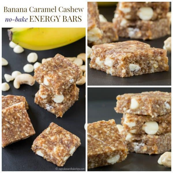 Banana Caramel Cashew No-Bake Energy Bars - only five ingredients in this healthy snack recipe that is gluten free, grain free, and can be made vegan. | cupcakesandkalechips.com