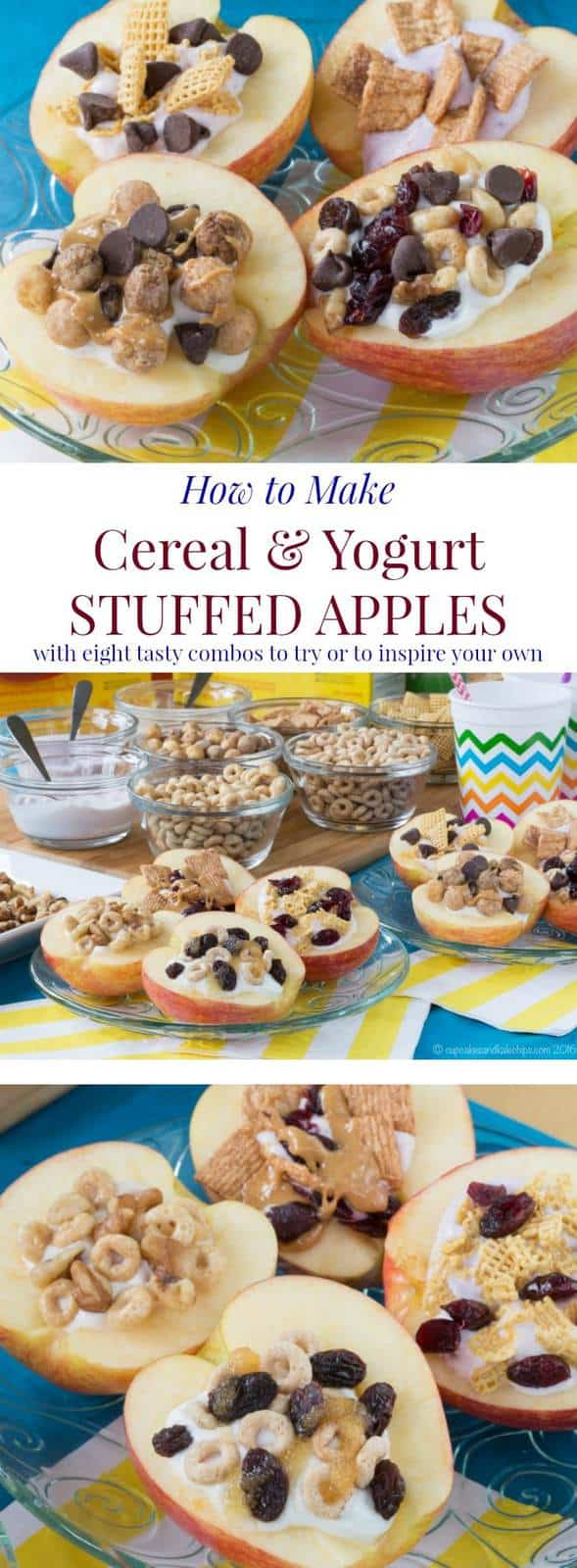How to Make Cereal and Yogurt Stuffed Apples for a fun and nutritious after-school snack. Try these eight tasty combos or come up with your favorite. #ad | cupcakesandkalechips.com