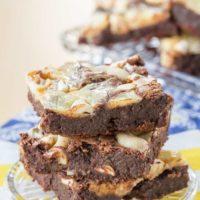 Flourless Cashew Caramel Cheesecake Swirl Brownies