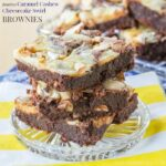 Flourless Caramel Cashew Cheesecake Swirl Brownies