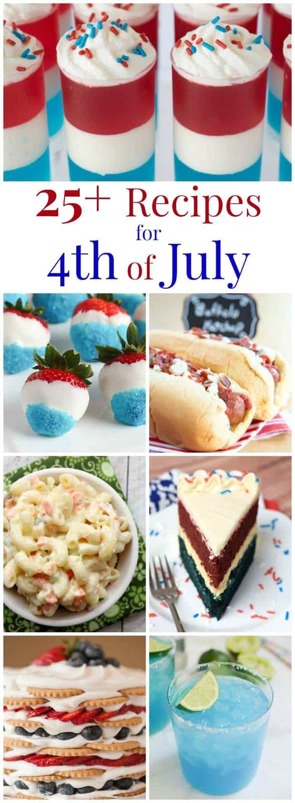 25+ Fourth of July Recipes - mains, sides, cocktails, and plenty of red, white and blue desserts for you July 4th celebration! | cupcakesandkalechips.com