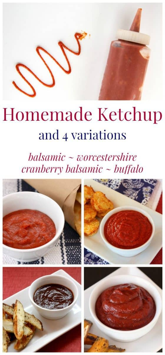 Homemade Condiments: 4 Variations of Homemade Ketchup - give your hamburgers, hot dogs, and French fries the gourmet treatment by whipping up your own condiments in minutes with no added sugar or other stuff. | cupcakesandkalechips.com | gluten free, vegan