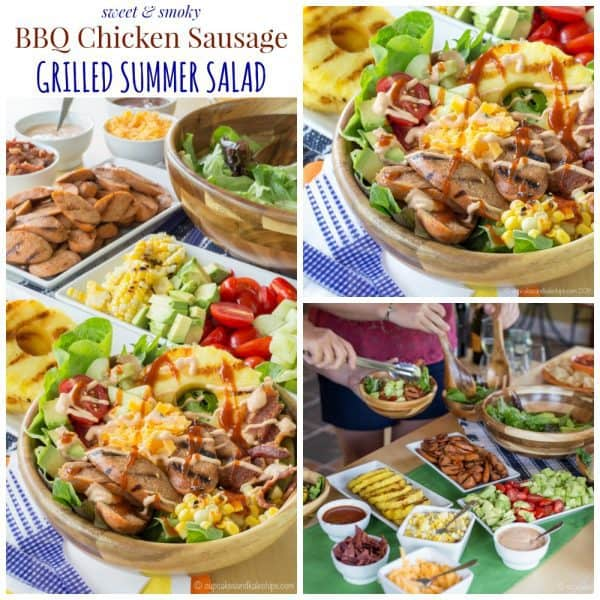 Sweet and Smoky BBQ Chicken Sausage Grilled Summer Salad - set up a salad bar filled with toppings from the grill including @alfrescogourmet Sweet & Smoky BBQ Chicken Sausage for easy summer entertaining! #grillalfresco #ad | cupcakesandkalechips.com | gluten free