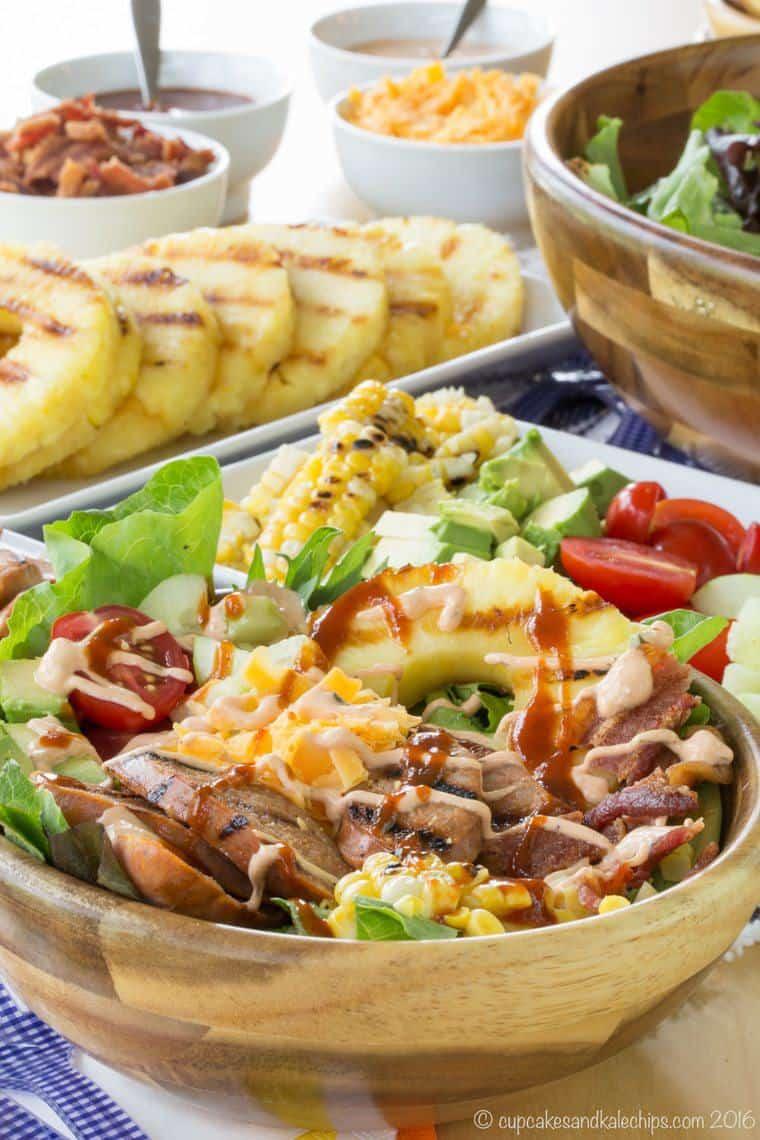 barbecue chicken sausage salad