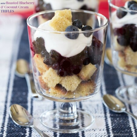 This mini roasted blueberry and coconut cream trifle recipe makes the most delicious and refreshing dessert.