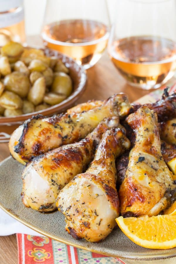 Baked or Grilled Orange Saffron Chicken Legs - An easy marinade recipe infuses exotic citrus flavors into juicy drumsticks you can cook on the grill or bake in the oven. Gluten free, low carb, and paleo.   cupcakesandkalechips.com