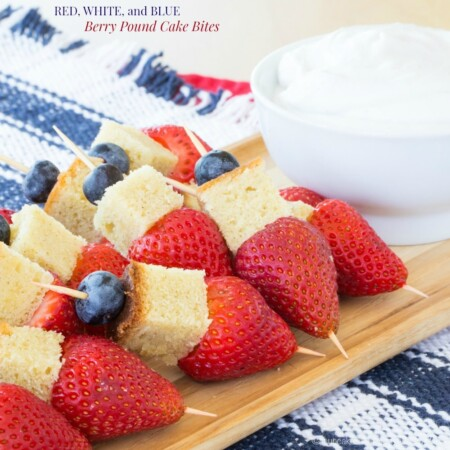 Red, White, and Blue Berry Pound Cake Bites for #SundaySupper