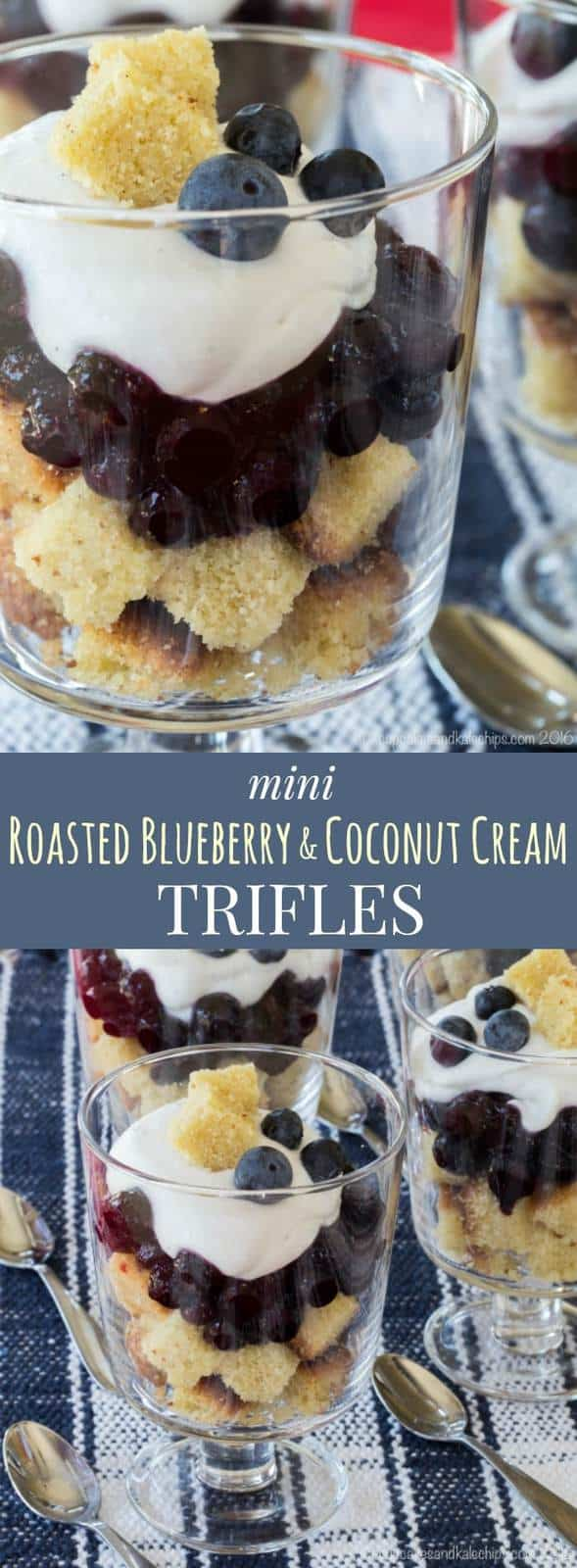 Mini Roasted Blueberry and Coconut Cream Trifles - a little individual trifle is a simple dessert recipe that's sure to impress. Use homemade or storebought pound cake, or even this gluten free option. | cupcakesandkalechips.com
