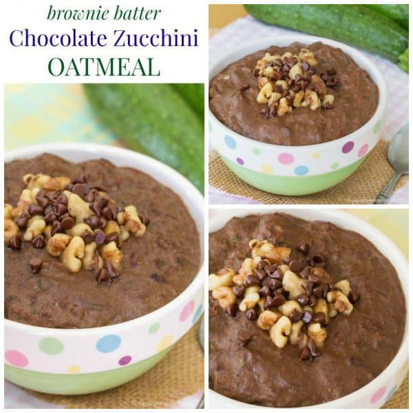 "Brownie Batter Chocolate Zucchini Oatmeal - get your veggies in the morning with these sweet and delicious ""zoats"", an easy protein-packed breakfast recipe made with #AllWhitesEggWhites from @AllWhitesEggs. Gluten free. #ad 
