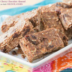 Cherry Chocolate Almond No-Bake Granola Bars