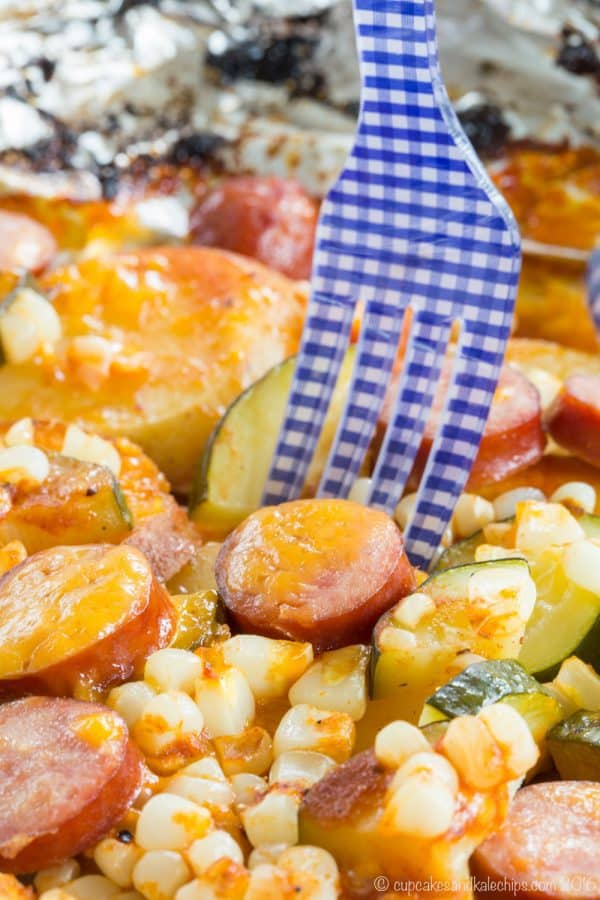 Cheddar Barbecue Sausage and Potato Foil Pack Dinner - a simple recipe with easy cleanup for cooking on a campfire or reliving camping memories at home made with @jvillesausage. Gluten free. #ad | cupcakesandkalechips.com