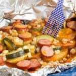 Cheddar Barbecue Sausage and Potato Foil Pack Dinner recipe sq-8619