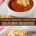 Cheesy Spinach Artichoke Cauliflower Breadsticks Pinterest Collage