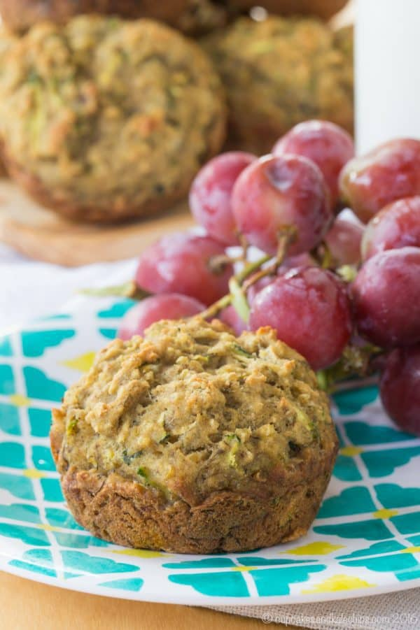 Gluten Free Banana Zucchini Muffins - a naturally sweet and healthy breakfast or snack recipe packed with fruit, veggies, and whole grains. Dairy free and vegan too!   cupcakesandkalechips.com