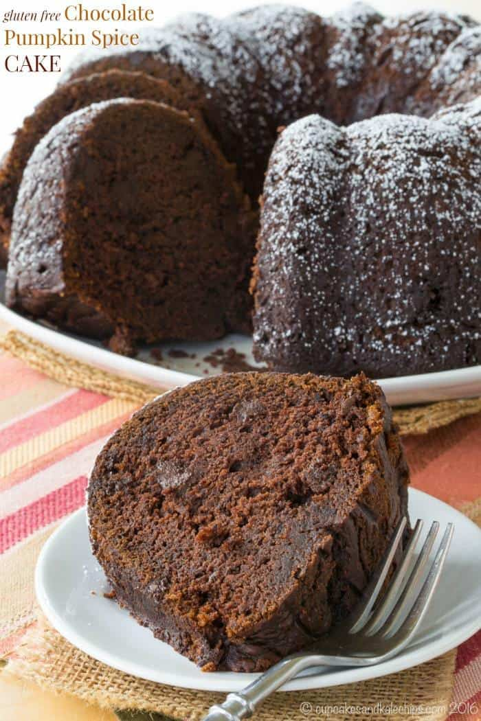 Gluten Free Chocolate Pumpkin Spice Cake - best bundt cake recipe for a fall dessert