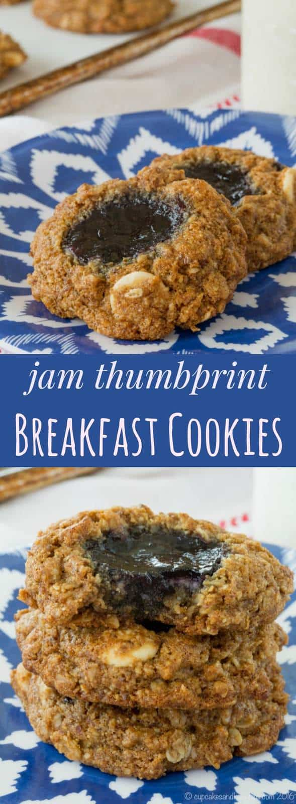 Jam Thumbprint Breakfast Cookies - start your day with this healthy cookie recipe that can even be made gluten free and dairy free. | cupcakesandkalechips.com