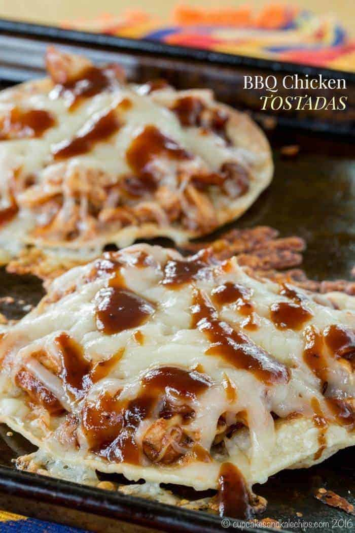 BBQ Chicken Tostadas Recipe with title