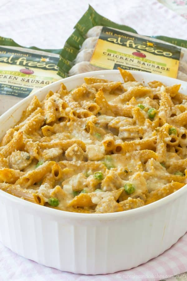 Baked Penne with Pumpkin Cream Sauce and Chicken Sausage - fall pasta recipe #ad