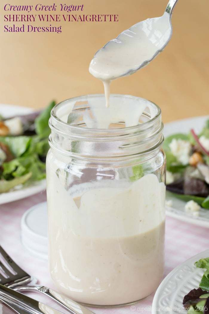 Creamy Greek Yogurt Sherry Wine Vinaigrette Salad Dressing - easy healthy recipe