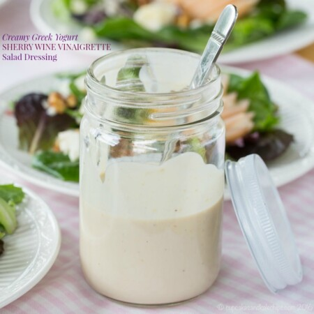 Creamy Greek Yogurt Sherry Wine Vinaigrette Salad Dressing is a healthy, easy gluten-free salad dressing recipe to add light, tangy flavor to your salads.