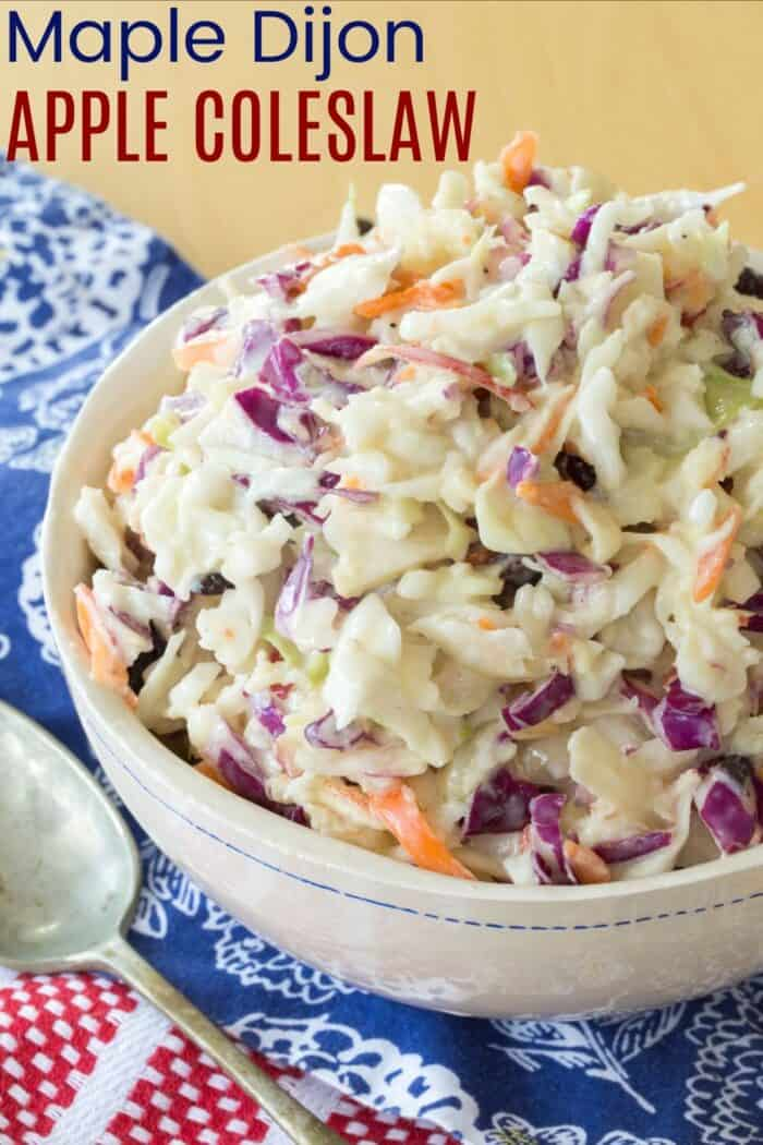 Maple Dijon Apple Coleslaw Recipe Image with Title