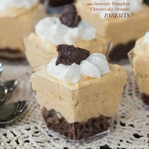 Mini Brownie Pumpkin Cheesecake Mousse Parfaits recipe, with a no bake gluten free dessert recipe option | CupcakesAndKaleChips.com
