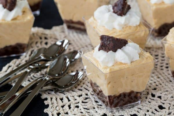 Mini Brownie Pumpkin Cheesecake Mousse Parfaits recipe for a party