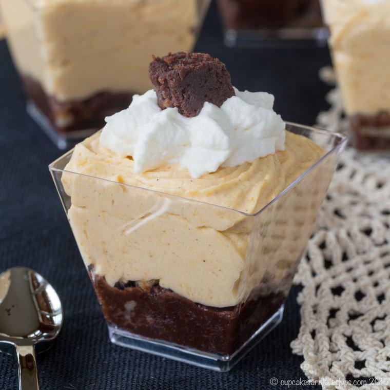 Mini Brownie Pumpkin Cheesecake Mousse Parfaits