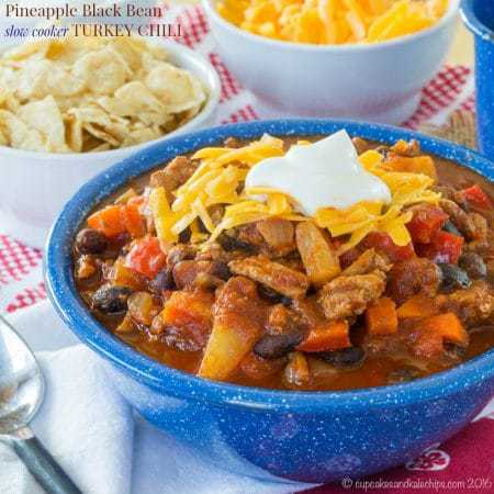 Pineapple Black Bean Slow Cooker Turkey Chili