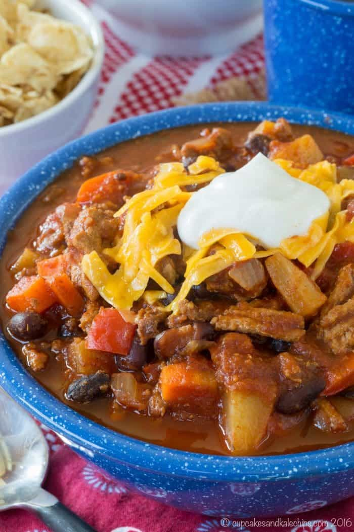 Pineapple Black Bean Slow Cooker Turkey Chili from your crockpot