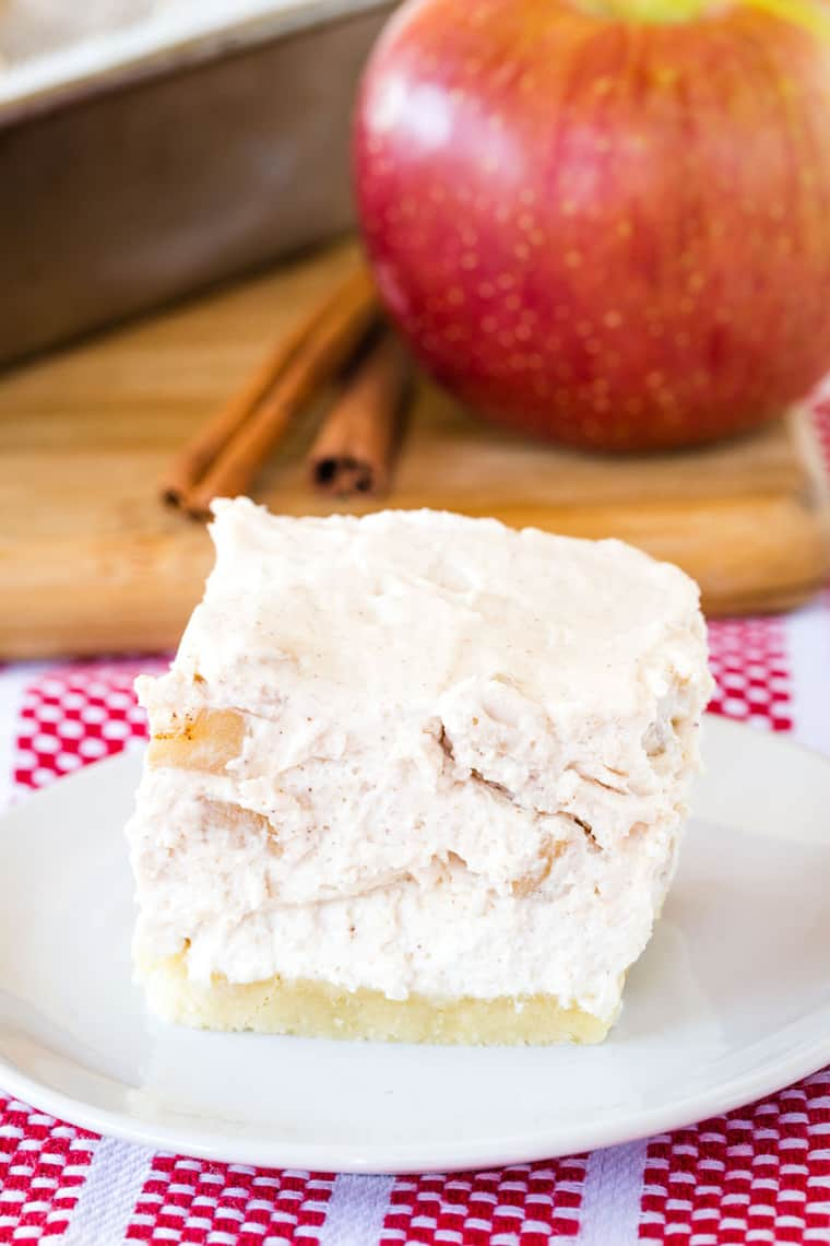 No-Bake Apple Cheesecake Bar on a white plate