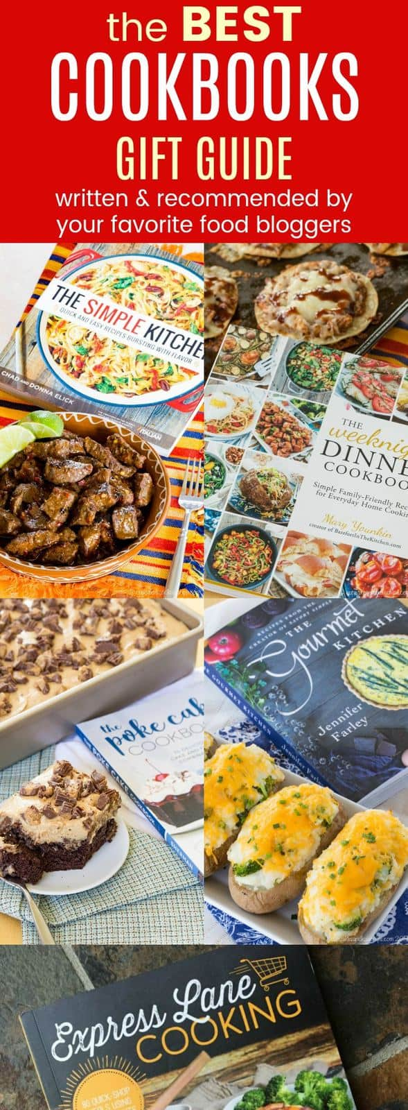 The Best Cookbooks Gift Guide - over 50 cookbooks for foodies that make the best gifts. Written by and recommended by the best food bloggers on the web!