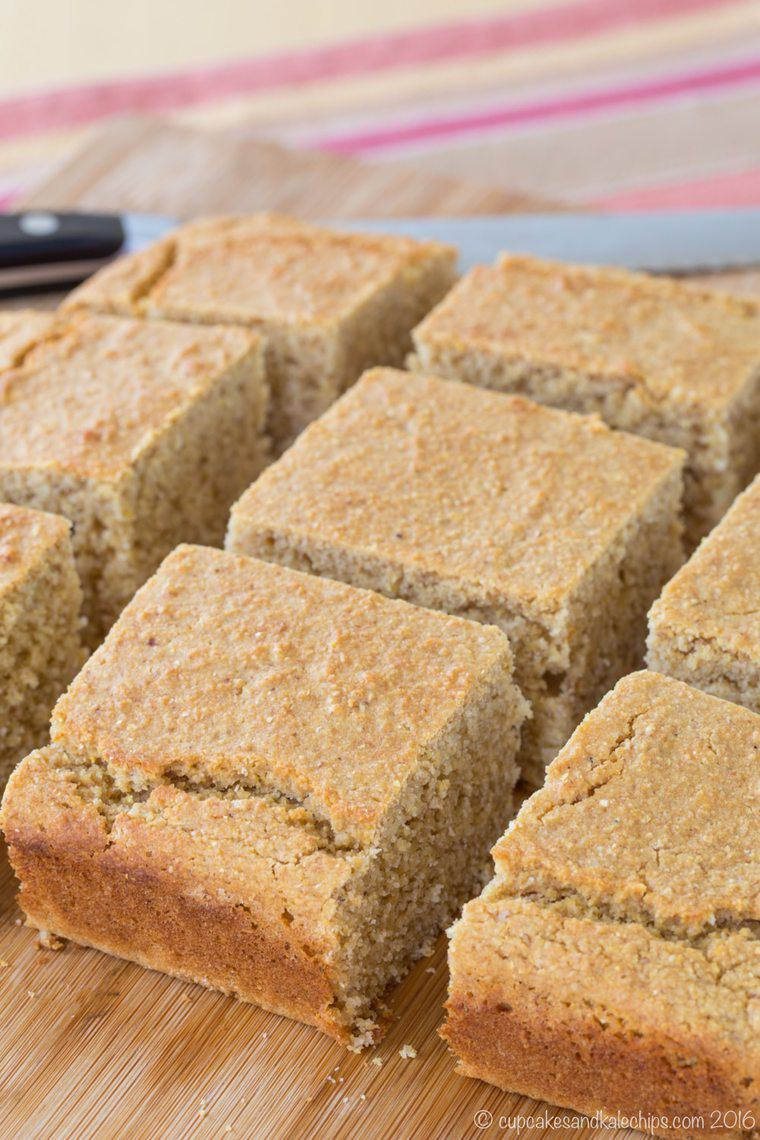Square pieces of Gluten Free Apple Butter Corn Bread
