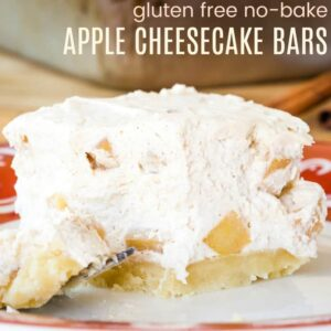 No-Bake Apple Cheesecake Bars with a gluten free almond crust are a light, fluffy dessert recipe
