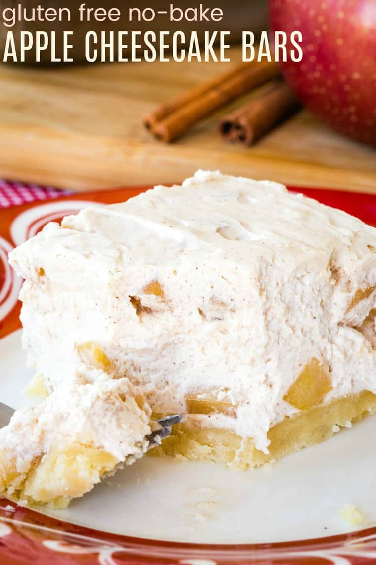 No-Bake Gluten Free Apple Cheesecake Bars with an Almond Meal Crust Recipe image with title