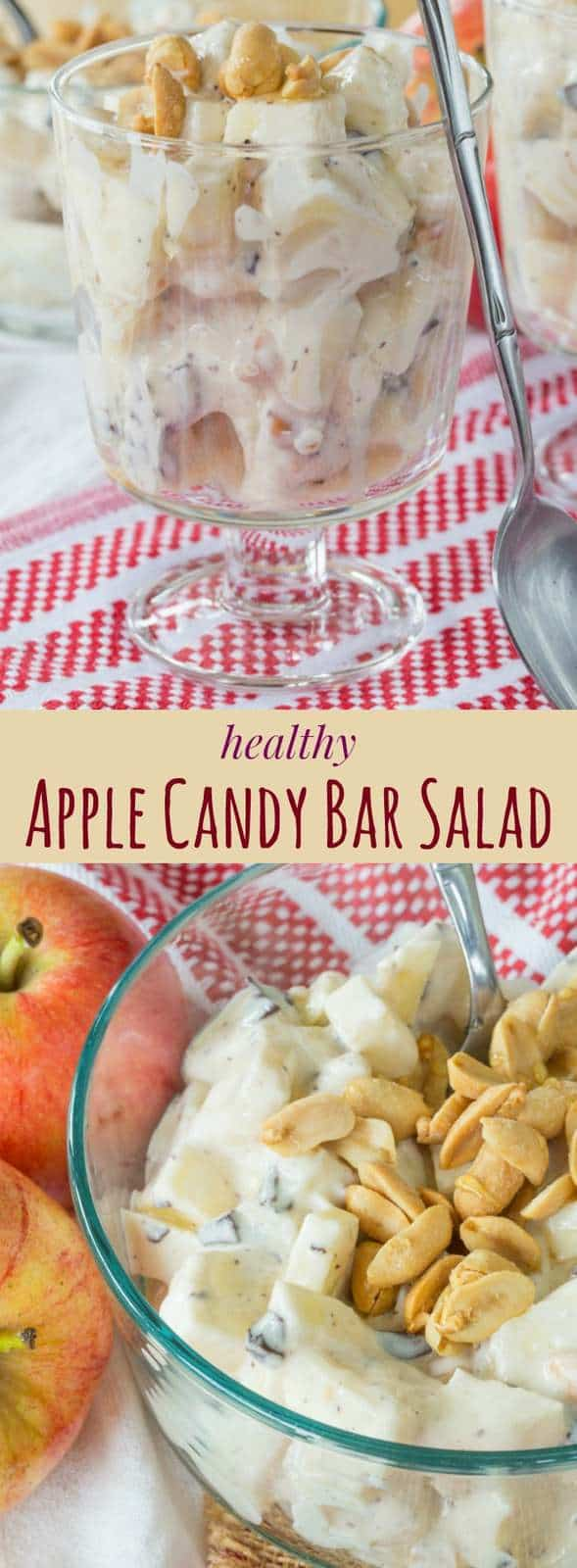 Healthy Apple Candy Bar Salad - a healthier version of Snickers salad, you'll love this fruit salad recipe for breakfast, brunch, snack, or dessert