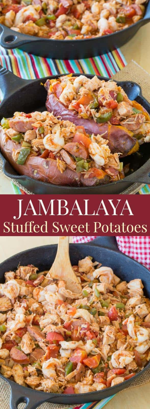 Jambalaya Stuffed Baked Sweet Potatoes - an easy and healthy twist on the classic Cajun recipe. Gluten free and paleo option.