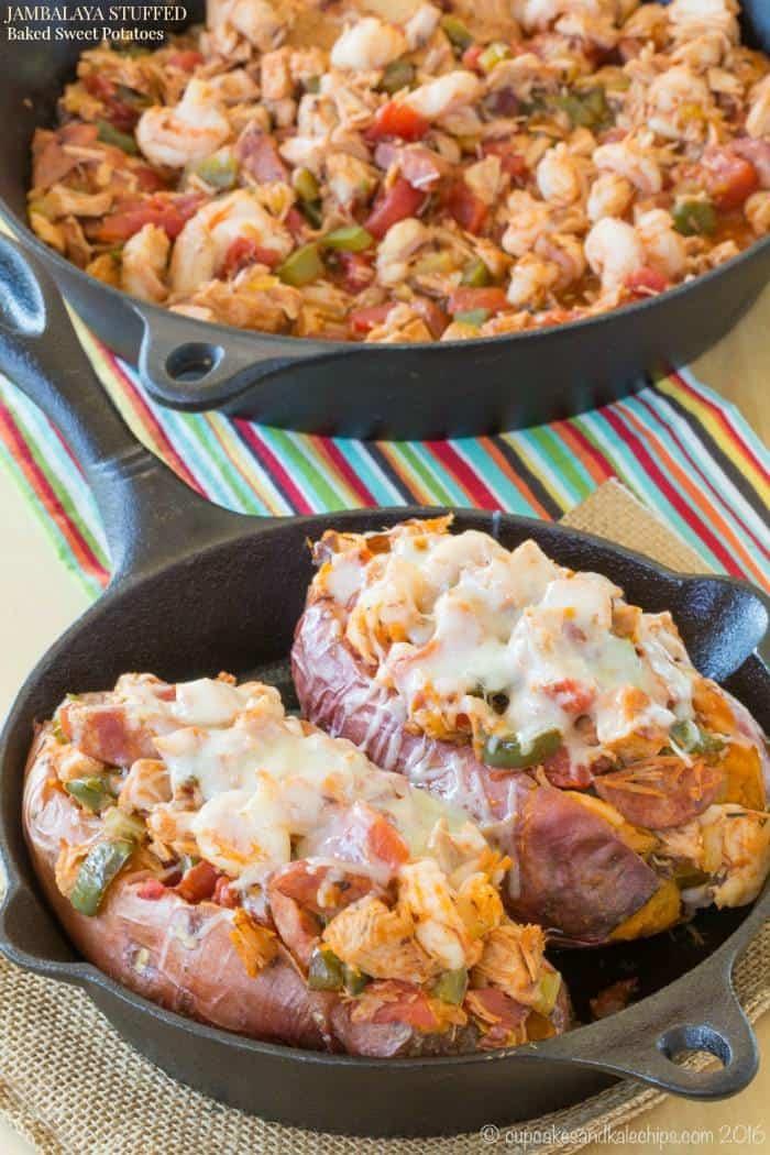 Jambalaya Stuffed Baked Sweet Potatoes - an easy and healthy twist on the classic Cajun recipe. Gluten free and paleo option.