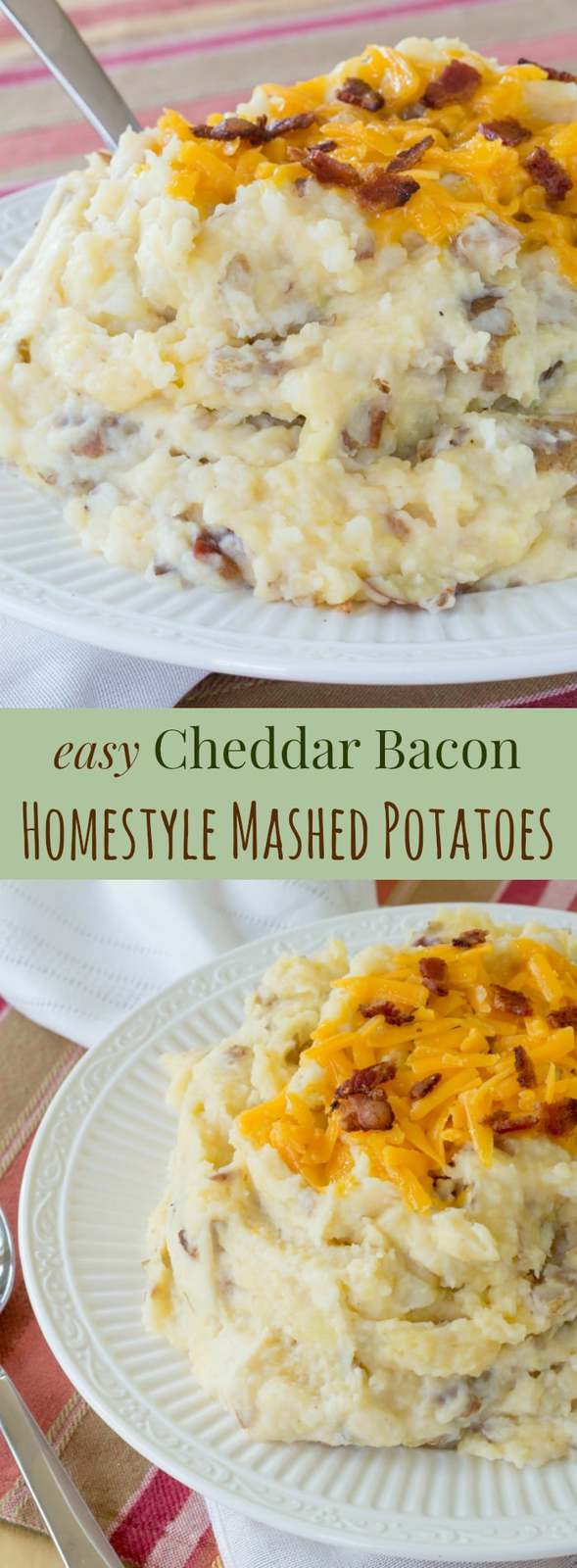 Homestyle Cheddar Bacon Mashed Potatoes - an easy side dish recipe lightened up with Greek yogurt, but still loaded with bacon and cheese. These cheesy bacon mashed potatoes will be a family favorite! #mashedpotatoes #bacon #glutenfree