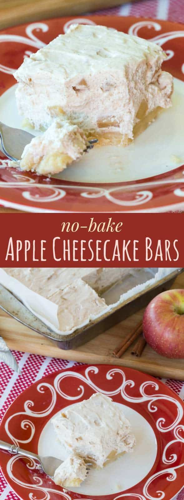 No-Bake Apple Cheesecake Bars with a gluten free almond crust are a light, fluffy holiday dessert recipe
