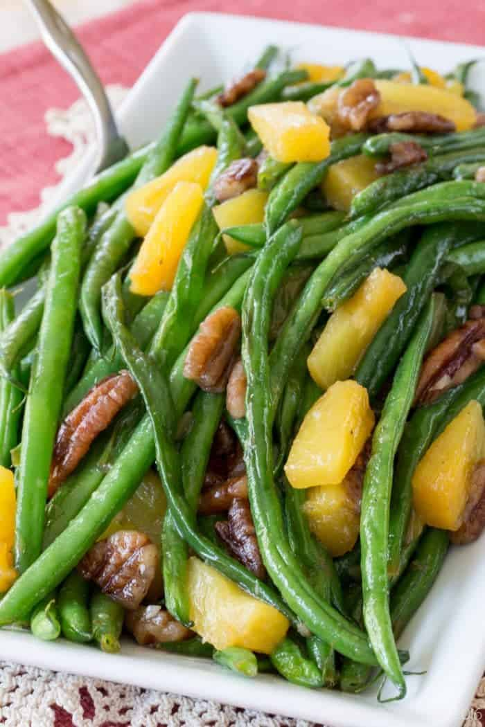 Closeup of Easy Green Bean Side Dish Recipe