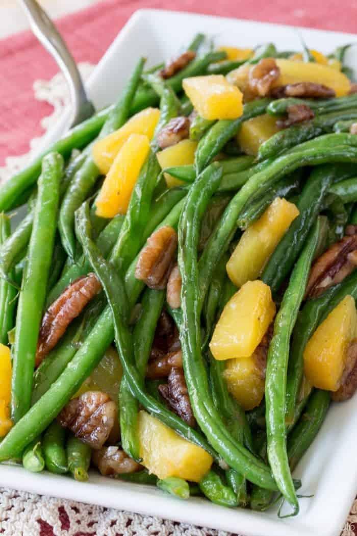 Christmas Vegetable Dishes.Pineapple Pecan Glazed Green Beans
