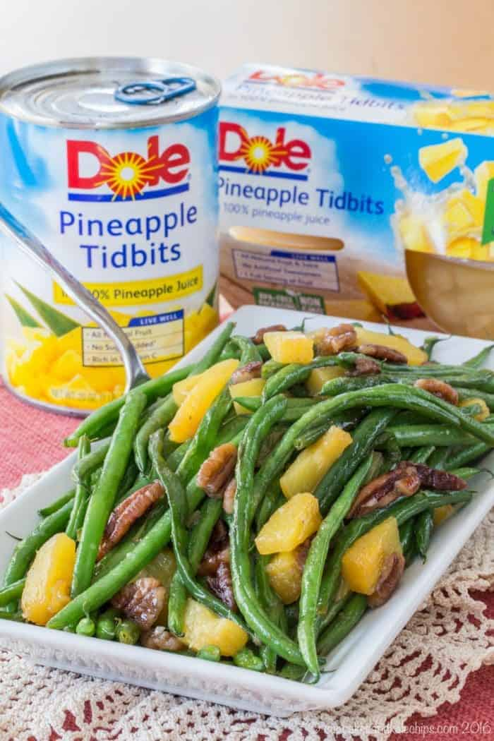 Pineapple Pecan Glazed Green Beans is an easy holiday side dish for Thanksgiving or Christmas made with Dole Pineapple Tidbits
