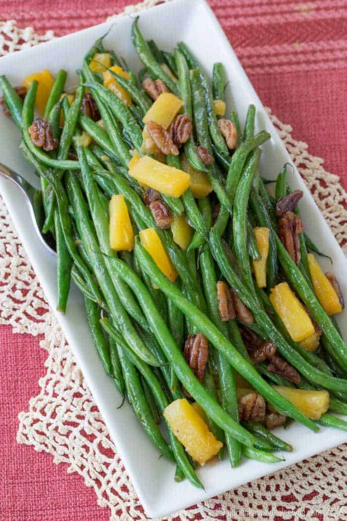 Easy Green Bean Side Dish Recipe with Pecans and Pineapple