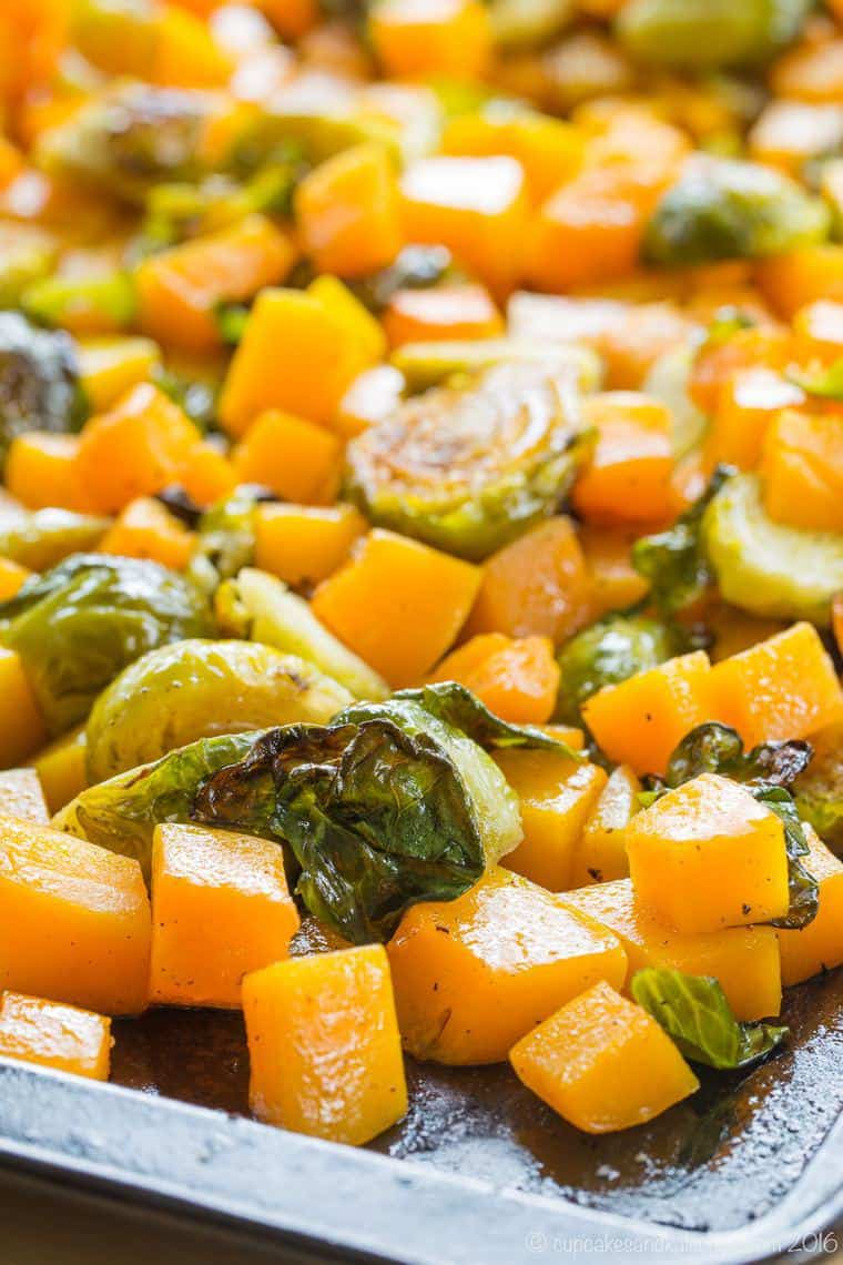 Roasted Brussels Sprouts and Roasted Butternut Squash with maple syrup