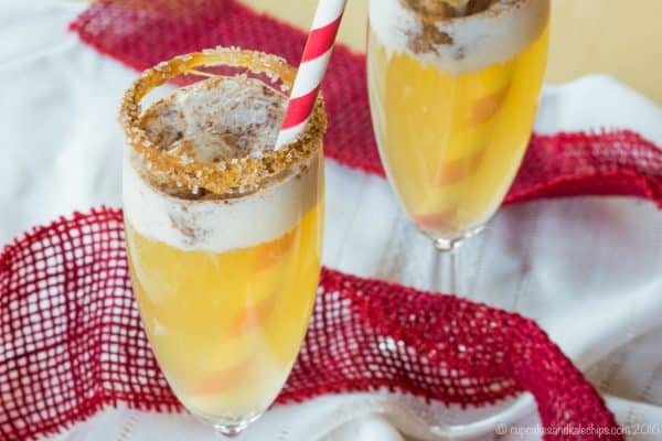 Sparkling Apple Cider Floats with a scoop of vanilla ice cream in hard cider or sparkling cider for a fizzy apple drink
